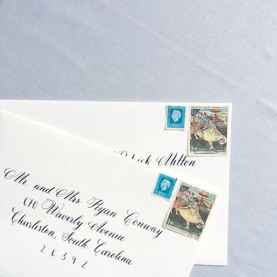 Script calligraphy envelope