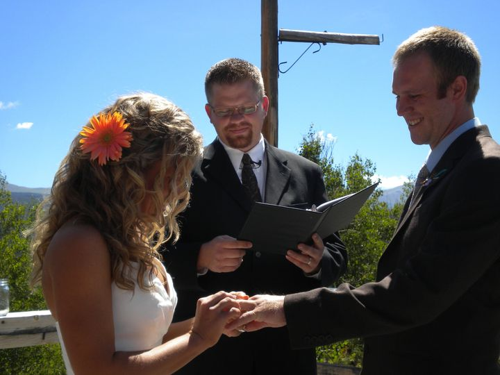 Wedding ceremony under blue Montana skies