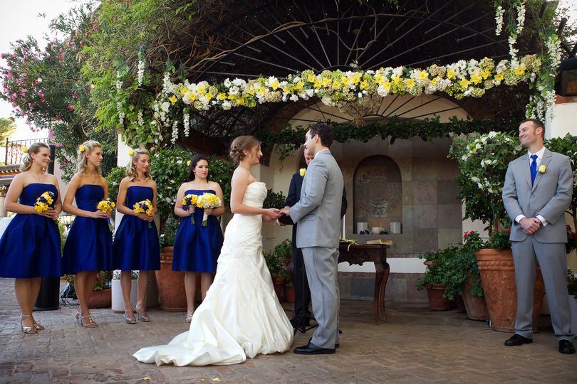 Wedding ceremony with blue and yellow