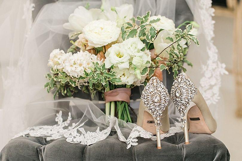 Wedding shoes, bouquet