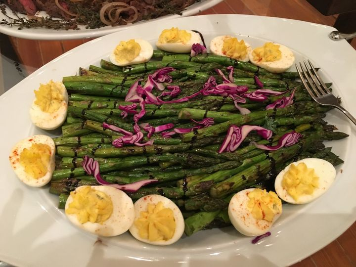 Grilled Asparagus with deviled eggs
