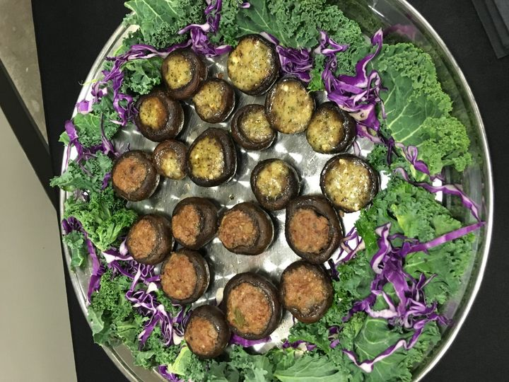 Bourbon/Sausage stuffed mushrooms & Goat Cheese Stuffed Mushrooms.