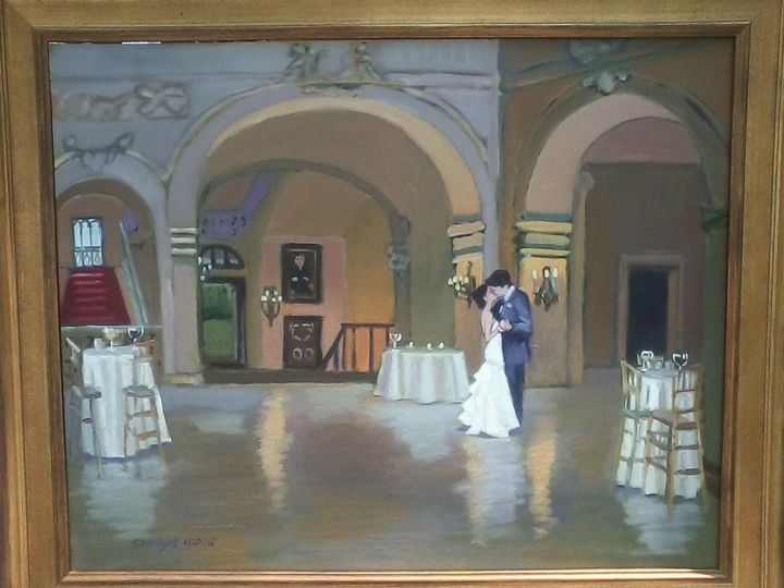 """Solstice Wedding"" 24x30 oil, wedding painting, Newport, Ochre Court Mansion completed"