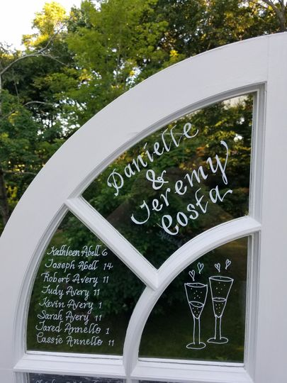 French Door Seating Chart/Keepsake calligraphed with white paint pen
