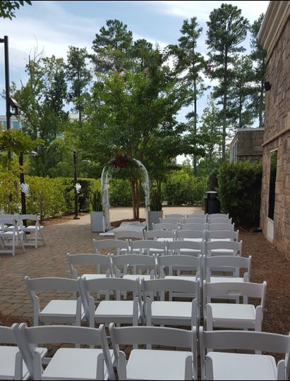 Outdoor patio used as ceremony space