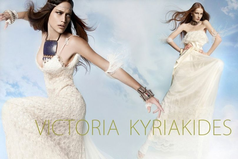 Left: Victoria KyriaKides, handmade macramé lace gown with layered tail of soft French tulle....