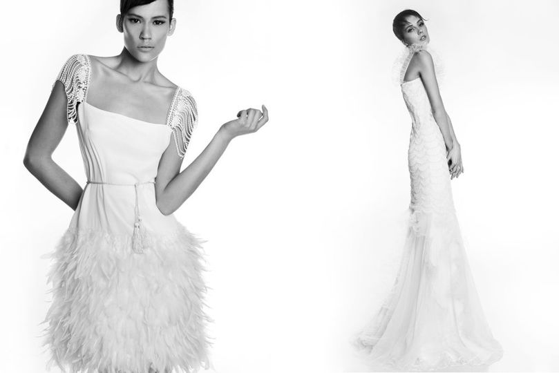 Left: Victoria KyriaKides mini feather dress made of crepe silk, with crochet sleeves that give it a...