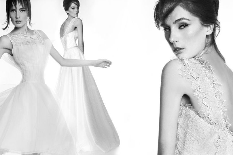 Left: Victoria KyriaKides, playful, T-length wedding dress with an English-chic twist. Hand...