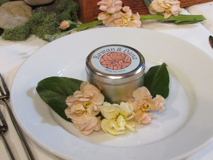 Candles in personalized tins - the perfect wedding favor or thank you gift.