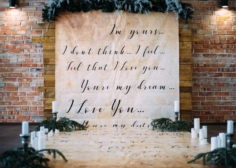 Wedding fabric signage