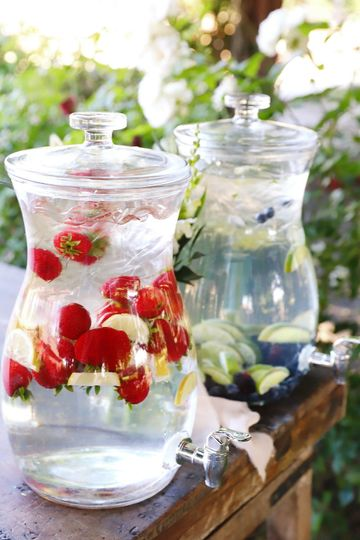 Infused water stationCredit: Kimberlee Miller Photography