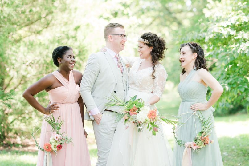 Couple and bridesmaids