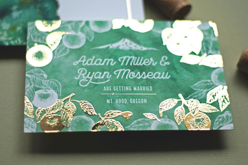 Save the date with foil detail
