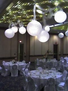 Lighted chinese lanterns raise the interest in decor to new heights.