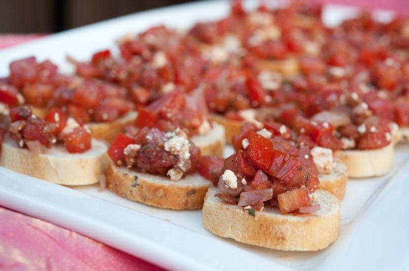 Crostini with a tomato chutney, crumbled gorgonzola, carmelized onions and honey.