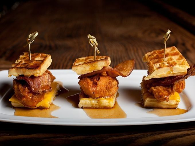 pork slope chicken waffle sliders by