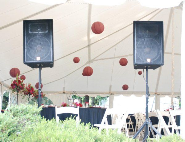 Speaker placement at the Abernethy Center for an outside ceremony. Quick turnaround for the...