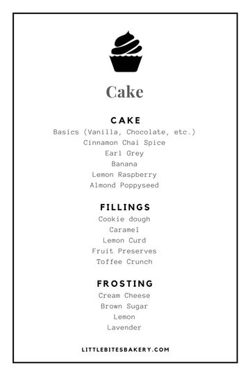 little bites bakery cake flavors sample menu