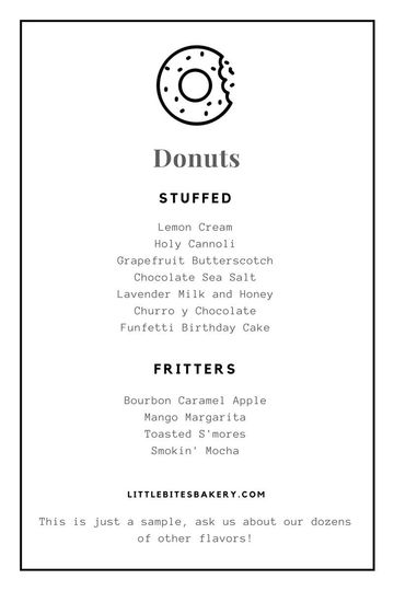 little bites bakery doughnuts sample menu