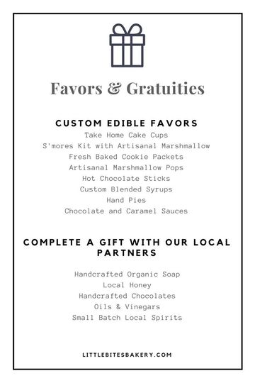 little bites bakery favors sample menu