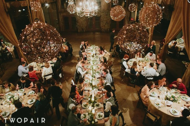 Vista west ranch barn indoor wedding reception. Two pair photography.