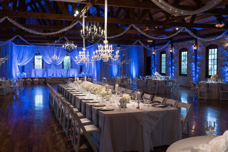 A blue wedding receptions
