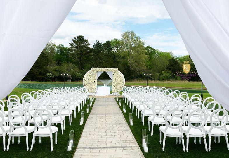 White outdoor wedding ceremony