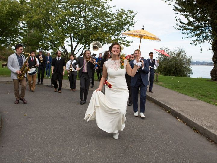Brass band with bride wedding