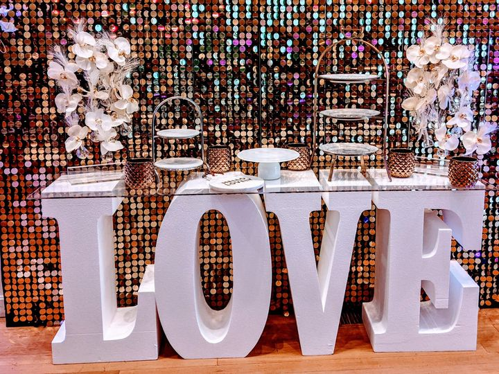 LOVE table set up is included