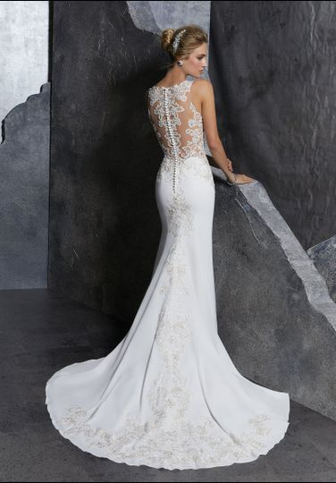 Sleek wedding dress with lace back details