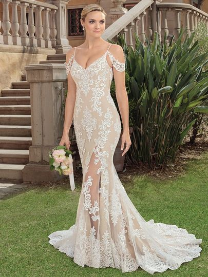 Off-shoulder wedding dress with see-through details