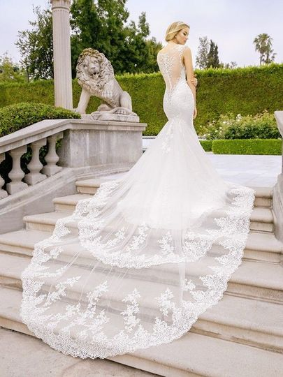 Wedding gown over the staircase