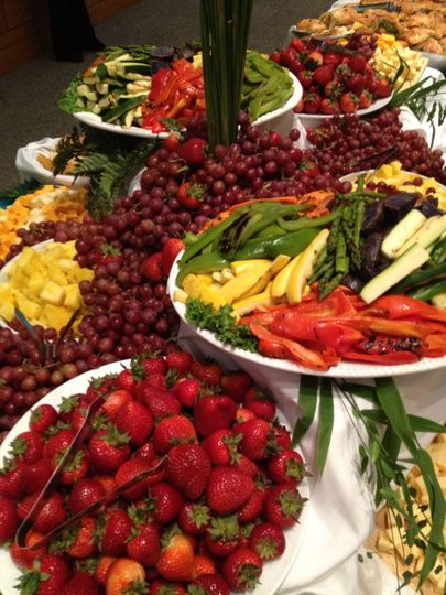 A Table Display has something for everyone, Fruit, Cheese and Vegetables all served with dips and...