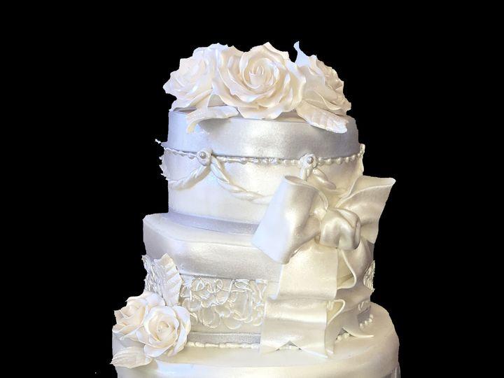 Tmx 1494376219104 Hexagon. Quilted. Stripes. 2 Tone Fondant. Bow. Ro Bronx wedding cake