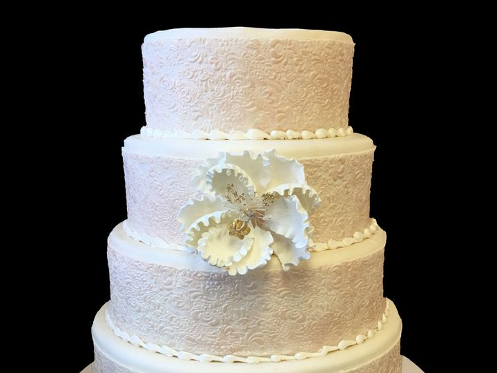 Tmx 1494376238454 Rolled Fondant Embossed Wide Banding. Pearlized Wi Bronx wedding cake