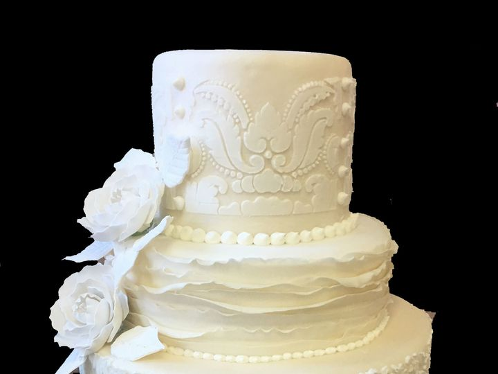 Tmx 1494376255142 Ivory Rolled Fondant Double Tiered With Stenciling Bronx wedding cake