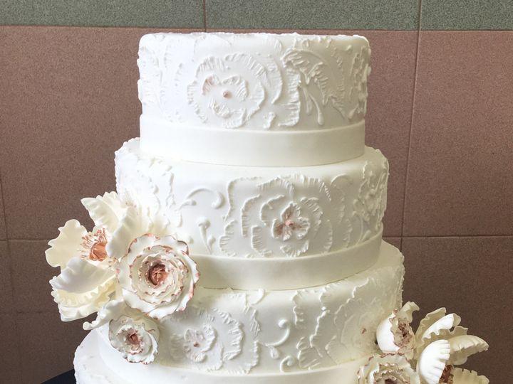 Tmx 1494376553848 White Rolled Fondant. Brushed Emroidery. Rolled Fo Bronx wedding cake