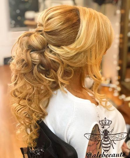 Loose updo-bride-right view