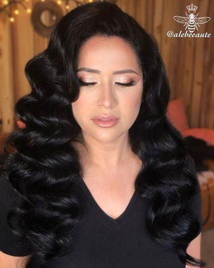 Soft makeup , glamorous hair