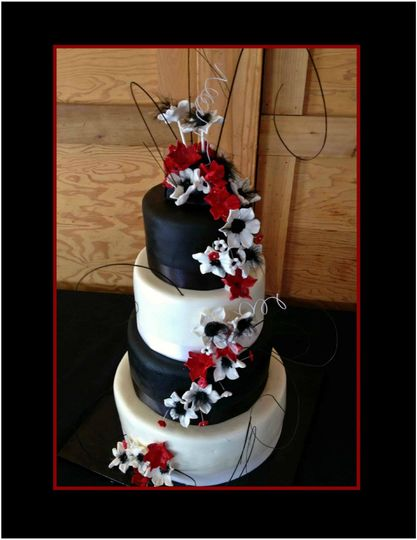 black and red gumpaste flowers