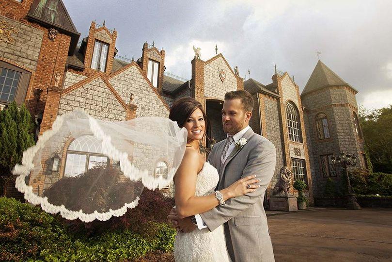 Bride and groom at Barclay Villa