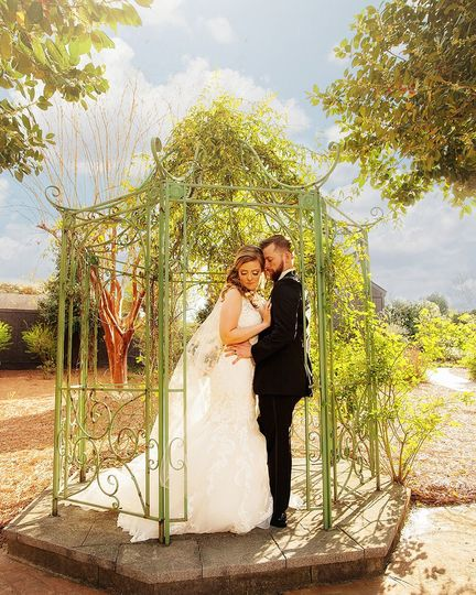 Bride and groom in love at Barclay Villa