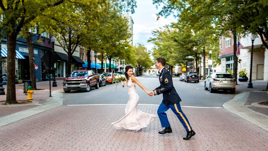 Bride and Groom downtown Fayetteville, NC
