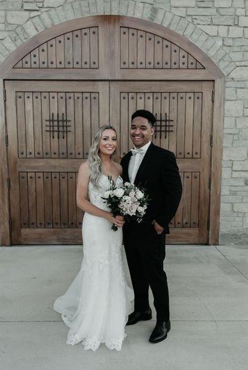 Couple at wood doors
