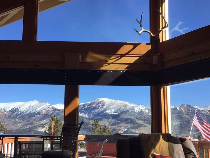 View of Rocky Mtns from cabin