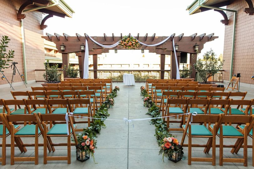 Terrace ceremony setup