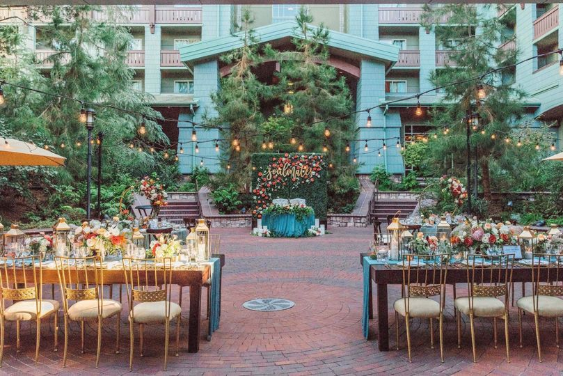 Romantic courtyard reception