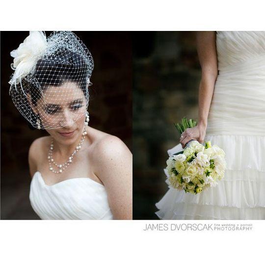 Birdcage veil and bride's bouquet