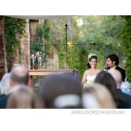 long shot of bride and groom during ceremony
