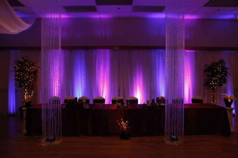 Pink and purple reception lighting